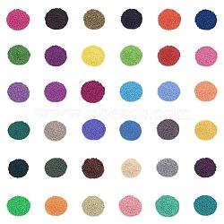 стеклянные бусины для выпечки краски fgb®, качество АА, вокруг, cmешанный цвет, 2x1.5 mm, отверстие: 0.8 мм; 20 г / мешок, 36 мешки / комплект