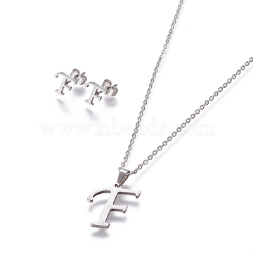 304 Stainless Steel Jewelry Sets, Stud Earring and Pendant Necklaces, Alphabet, Stainless Steel Color, Letter.F, 17.7inches~18.1inches(45~46cm); 7.5~10x3.5~12mm; Pin: 0.8mm(X-SJEW-L141-052F)