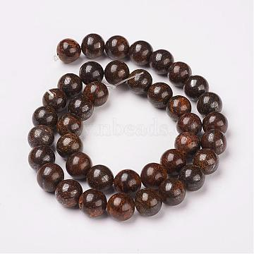 Natural Bronzite Beads Strands, Round, 6mm, Hole: 1mm; about 66pcs/strand, 15.7inches(40cm)(G-D169-01-6mm)