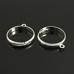Brass Loop Ring Bases, Adjustable, Lead Free and Cadmium Free, Ring Components, Silver Color Plated, 1Size: about 19mm in diameter, 17mm inner diameter, 1mm thick, Loop: about 2mm(X-EC159-S)