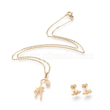 304 Stainless Steel Jewelry Sets, Cable Chains Pendant Necklaces and Stud Earrings, with Lobster Claw Clasps and Ear Nuts, Cat Shape, Golden, 17.56 inches(44.6cm), 1.5mm; 7x10.5mm, Pin: 0.8mm(STAS-K196-15G)