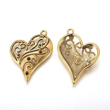 Heart Zinc Alloy Pendant Rhinestone Enamel Settings, Antique Golden, Cadmium Free & Lead Free, Size: about 39mm long, 31mm wide, hole: 2mm(PALLOY-A13825-AG-LF)