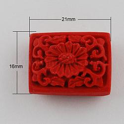 Cinnabar Beads, Cuboid, Red, 16x21x9mm, Hole: 2mm(X-CARL-Q001-9)