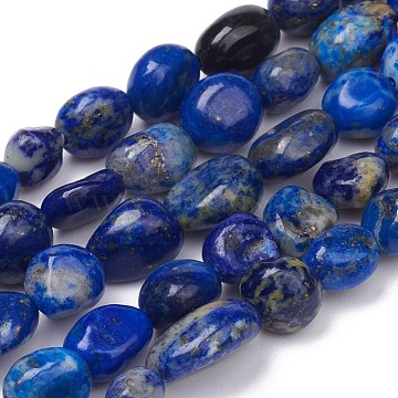 Natural Lapis Lazuli Beads Strands, Nuggets, Tumbled Stone, 5~10x4~5x3~4mm, Hole: 0.8mm; about 61pcs/strand, 15.35''(39cm)(G-L493-40)