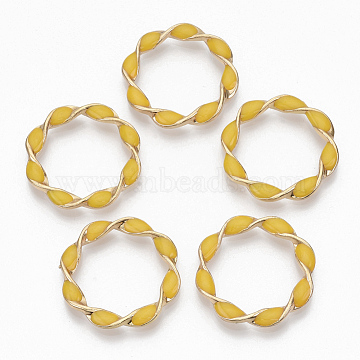 Environmental Alloy Linking Rings, with Enamel, Twisted Ring, Light Gold, Yellow, 31x4mm(X-PALLOY-R110-10E)