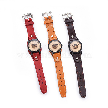 Wristwatch, Quartz Watch, Alloy Watch Head and PU Leather Strap, Mixed Color, 9-1/2 inches~10 inches(24.2~25.5cm), 19~20x3mm, Watch Head: 39.5x41x14mm(WACH-I017-11)