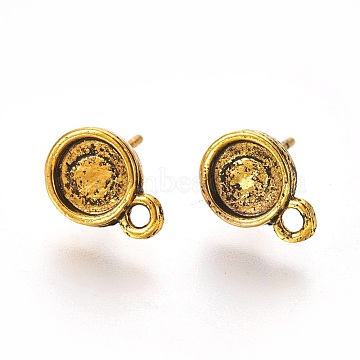 Tibetan Style Ear Stud Components, Lead Free & Nickel Free, Flat Round, Antique Golden, 13mm, Hole: 1.5mm, Tray: 6mm, Pin: 1mm(X-TIBE-A20143-AG-FF)