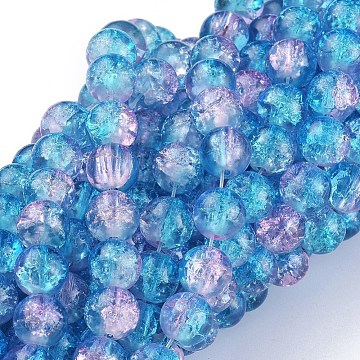 1Strand Two Tone Transparent Crackle Glass Round Beads Strands, DodgerBlue, 8mm; Hole: 1.3~1.6mm; about 100pcs/strand, 31.4 inches(X-CCG-Q001-8mm-19)