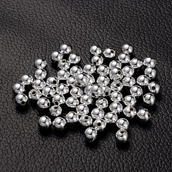 Perles acryliques plaquées, rond, couleur platine, environ 6 mm de diamètre, trou: 1 mm; environ 4000 pcs / 500 g(PL682-1)