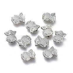 Alloy Beads, Owl Shape, Platinum, 10x8.5x3mm, Hole: 1mm(PALLOY-H170-57P)