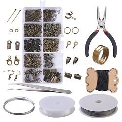 Kits de bijoux bricolage, perles à écraser en laiton et les accessoires en fer, avec des outils, bronze antique, 13x6.8x2.1 cm(DIY-X0098-16AB)