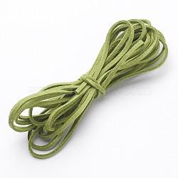 Greenyellow ton daim cordon, dentelle de faux suède, environ 1 m de long,  largeur de 2.5 mm, environ 1.4 mm d'épaisseur, 1 m / chapelet(X-LW14196Y)