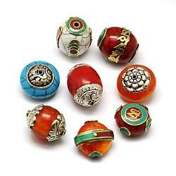 Perles de style tibétain manuelles, argent sterling thai ou barss avec turquoise, cire d'abeille ou corail synthétique, formes mixtes, couleur mixte, 24~34x21~25x14~19mm, Trou: 1.5~3mm(TIBEB-K023-20)