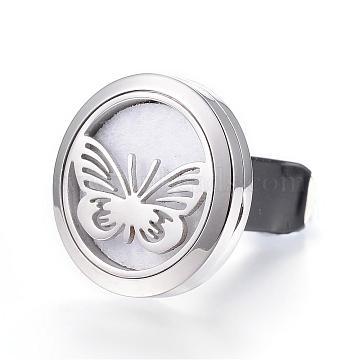 316 Surgical Stainless Steel Car Diffuser Locket Clips, with Perfume Pad and Magnetic Clasps, Flat Round with Butterfly, White, 30x7mm(STAS-H336-01A)