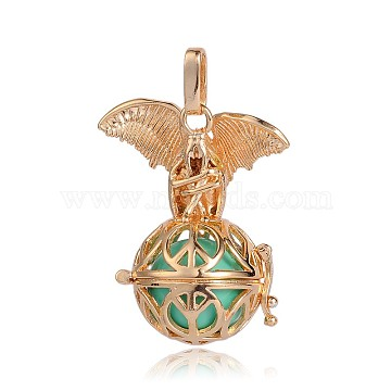 Golden Plated Brass Hollow Round Cage Pendants, with No Hole Spray Painted Brass Beads, Turquoise, 38x31x20mm, Hole: 3x8mm(KK-J252-03G)