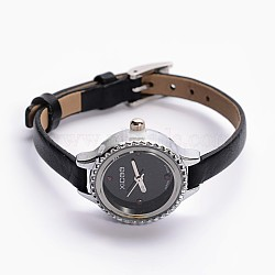 Alloy Cowhide Leather Japanese PC Movement Mechanical Wristwatches, Waterproof, with Stainless Steel Clasps, Black, Platinum, 200x6mm; Watch Head: 28x25x9mm, Watch Face: 19mm(X-WACH-F007-05B)