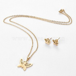 304 Stainless Steel Jewelry Sets, Stud Earring and Pendant Necklaces, Butterfly, Golden, 17.3 inches~18.2 inches(44~46.3cm); 7.5x10mm; Pin: 0.8mm(X-SJEW-L141-018G)