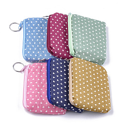 Cloth Clutch Bags, Change Purse, with Iron Ring, Heart Pattern, Mixed Color, 120~122x88~92x12~13mm(ABAG-S005-06B)