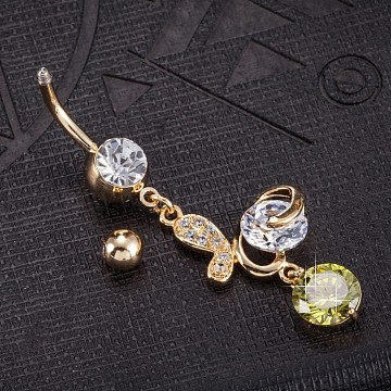 Piercing Jewelry, Eco-Friendly Brass Cubic Zirconia Navel Ring, Belly Rings, with Use Stainless Steel Findings, Real 18K Gold Plated, Butterfly, Olive Drab, 53x15mm(AJEW-EE0003-34B)