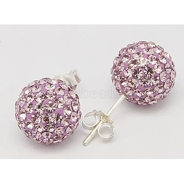 Sterling Silver Austrian Crystal Rhinestone Ball Stud Earrings for Girl, Round, 212_Light Amethyst, 17x8x1mm(X-Q286H091)