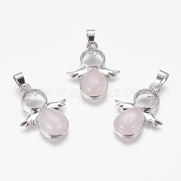 Platinum Angel & Fairy Rose Quartz Pendants