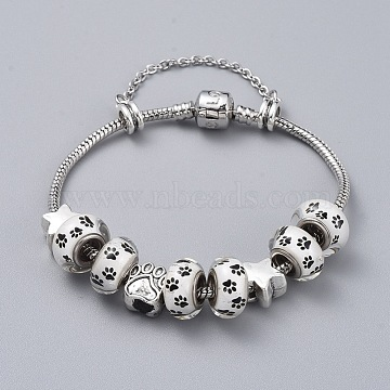 Brass European Bracelets, with 304 Stainless Steel Rolo Chains, Glue Glass and Tibetan Style Alloy European Beads, with Cardboard Packing Box, Paw Print and Star, White, 7-1/2 inches(19cm)(BJEW-JB04796-01)