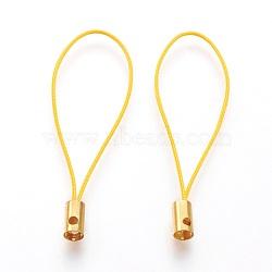Нейлоновый шнур мобильные ремни, с фурнитурой латунной золотого тона, желтые, 50x4 мм; отверстие: 1.8 мм(MOBA-F005-03G-10)