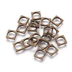 Cadres de perles en alliage de style tibétain, sans plomb & sans nickel & sans cadmium , carrée, couleur de bronze antique, longueur d'environ 11 mm ,  largeur de 11 mm, épaisseur de 3mm, Trou: 8mm(X-MLF10939Y-NF)