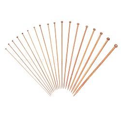 Ensemble d'aiguilles à tricoter en bambou carbonisé, crochet simple pointu, kit lisse au crochet, outil d'aiguille d'artisanat, marron, 345~360mm; 1 paire / sac; 18bag / ensemble(TOOL-WH0016-16)
