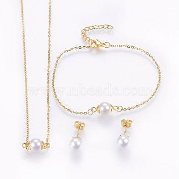 304 Stainless Steel Jewelry Sets, Pendant Necklaces & Stud Earrings & Bracelets, with Acrylic Beads, Golden, 16.54 inches(42cm); 7-1/8 inches(18cm); 20x8mm; Pin: 0.8mm(SJEW-H138-27G)