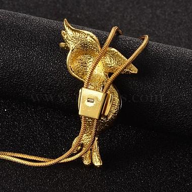 Toucan Long Adjustable Alloy Rhinestone Lariat Necklaces(NJEW-F193-I03-G)-3