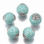 Pale Turquoise Round Polymer Clay Beads(IPDL-P003-16O)