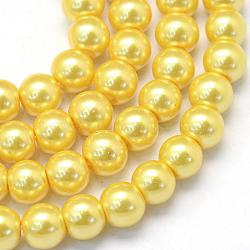Baking Painted Pearlized Glass Pearl Round Bead Strands, Gold, 4~5mm, Hole: 1mm, about 210pcs/strand, 31.4 inches(X-HY-Q003-4mm-67)