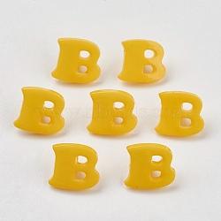 Boutons en acrylique, 1-trou, teint, lettre b, or, 14x13x2mm, Trou: 3mm(X-BUTT-E029-04)