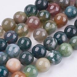 """Chapelets de perles en agate indienne naturelle, rond, 8mm, trou: 1mm; environ 48 pcs/chapelet, 14.96""""(X-G-L083-8mm-15)"""