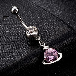 Piercing Jewelry, Brass Cubic Zirconia Navel Ring, Belly Rings, with Use Stainless Steel Findings, Cadmium Free & Lead Free, Planet, Platinum, Pink, 39x12mm; Pin: 1.5mm(AJEW-EE0003-02B)