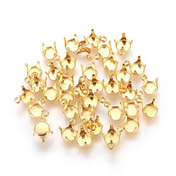 304 Stainless Steel Rhinestone Claw Charms Settings, Golden, 10x7mm, Hole: 1.6mm(X-STAS-P227-16G)