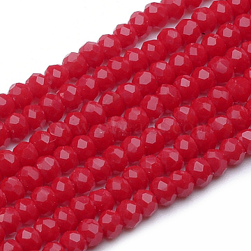 Opaque Glass Beads Strands, Imitation Jade, Faceted, Rondelle, Red, 2~2.5x1.5mm, Hole: 0.5mm; about 200pcs/strand, 12.2inches(X-GLAA-R200-B10)