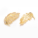 Leaf Brass Micro Pave Cubic Zirconia Safety Brooch(JEWB-L007-01)-2