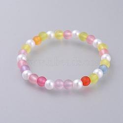 """Bracelets enfants stretch en acrylique imitation perle, avec des perles acryliques transparentes de style dépoli, rond, colorées, 1-7/8"""" (4.7 cm)(BJEW-JB04570)"""