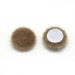 Cabochons recouverts de fausse fourrure, avec fond en aluminium, demi-rond / dôme, chameau, 15x5mm(X-WOVE-S084-49L)
