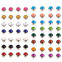 Rivets de turquoise, avec accessoires en acier et en aluminium, pour sac à main, bottes, décoration d'artisanat en cuir, platine, couleur mixte, 12mm, 6sets / couleur, 90, affecte / boîte(FIND-PH0015-12mm-12)