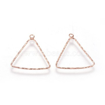 S925 Sterling Silver Pendants, Triangle, Rose Gold, 19~19.5x18x0.8mm, Hole: 1.4mm(STER-F046-07RG)