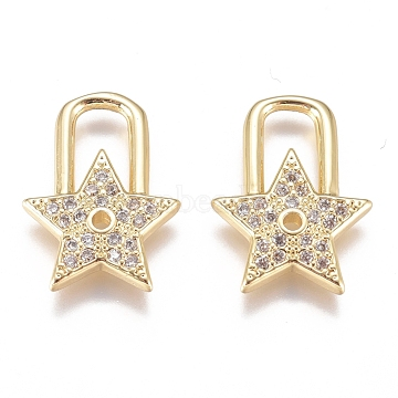 Brass Micro Pave Cubic Zirconia Pendants, Long-Lasting Plated, Star, Clear, Golden, 15.5x12x2mm, Hole: 3.5mm(X-ZIRC-G168-33G)