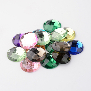 Imitation Taiwan Acrylic Rhinestone Flat Back Cabochons, Faceted, Half Round/Dome, Mixed Color, 25x6mm(X-GACR-D002-25mm-M)