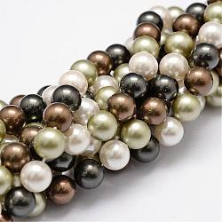 """Chapelets de perles en coquille, Grade a, rond, couleur mixte, 8mm, trou: 1mm; environ 54 pcs/chapelet, 16""""(BSHE-L017-18)"""