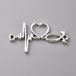 Tibetan Style Alloy Pendants,  Heartbeat, Antique Silver, 19x34x2mm, Hole: 1.2mm
