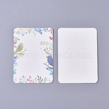 Cardboard Earring Display Cards, Rectangle with Floral Pattern, Colorful, 7.2x5.1x0.05cm(CDIS-WH0013-05H)