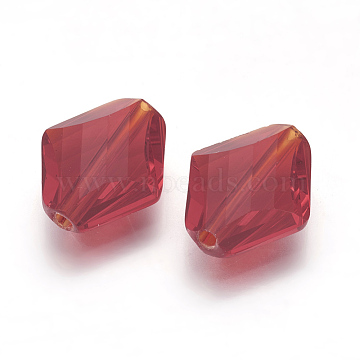14mm FireBrick Rhombus Glass Beads