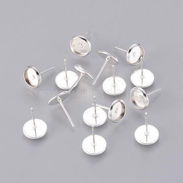 monture en laiton sertie de cabochons, broches de fer, argent, 11x8x1 mm, Plateau: 6.5 mm, pin: 1 mm(X-KK-G179-S)